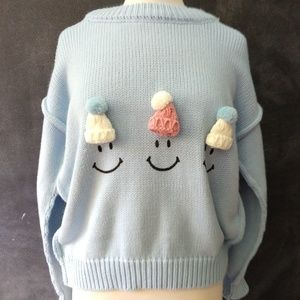 Sweaters - 3D SWEATER | Happy Face Beanie Long Sleeve